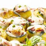zucchini roll ups with marinara, cheese and basil