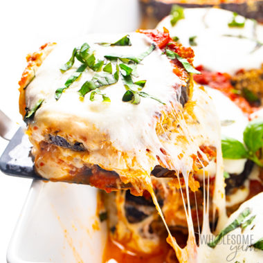 slice of keto eggplant parmesan pulled out of pan Detail: healthy-keto-eggplant-parmesan-recipe-38