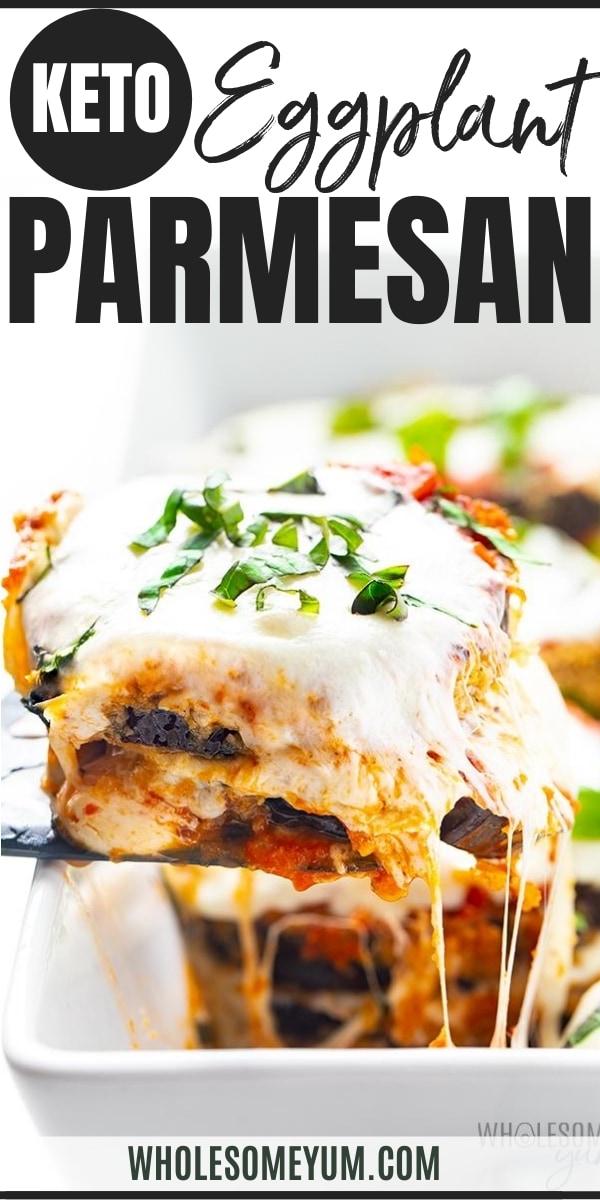 Keto eggplant parmesan recipe - pin image