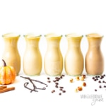 5 flavors of keto coffee creamers in glass bottles