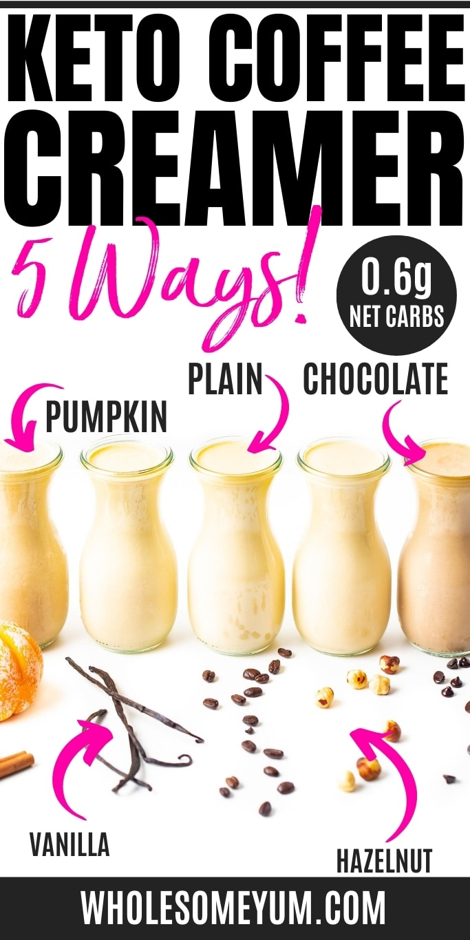 Keto coffee creamer recipe pin - 5 ways