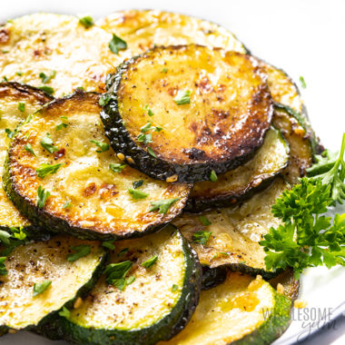 Close-up photo of the best sauteed zucchini