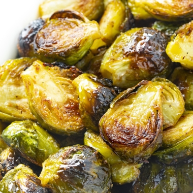 Oven roasted brussels sprouts close up