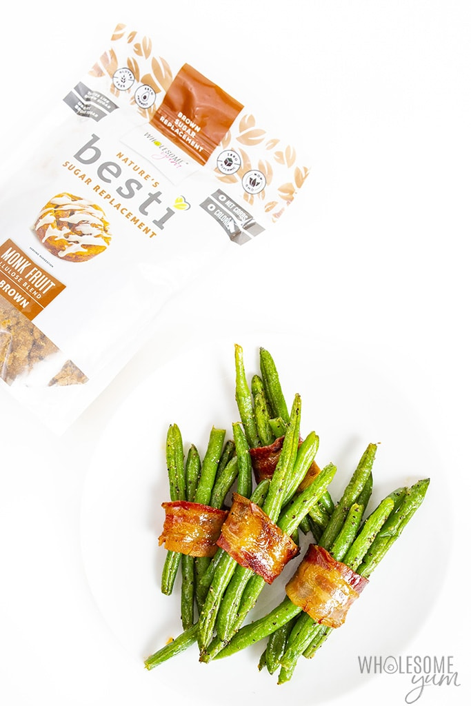 Green beans and bacon bundles with Besti Brown sweetener