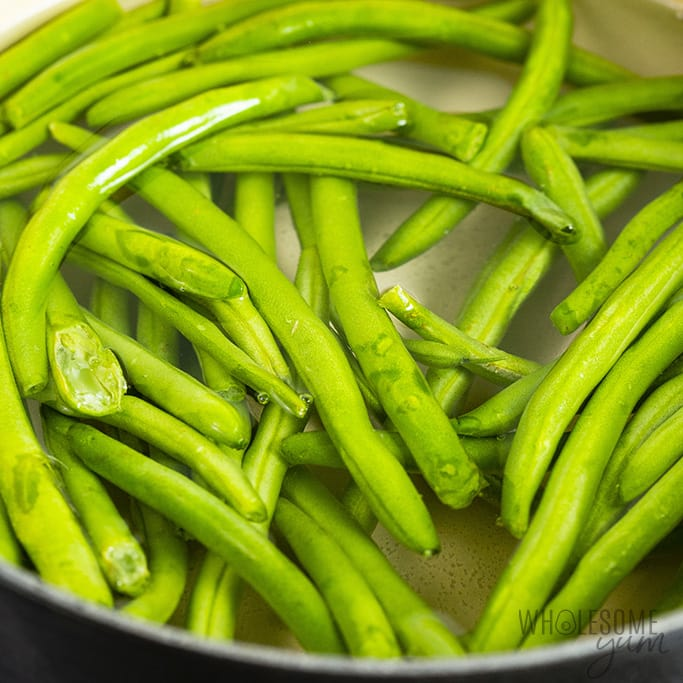 Green beans cooking in a pot