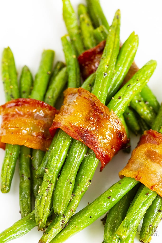 Stack of green bean bundles with bacon