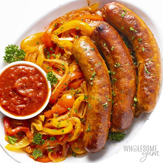 Are Bell Peppers Keto? - Overhead view of Italian sausage and peppers on a plate