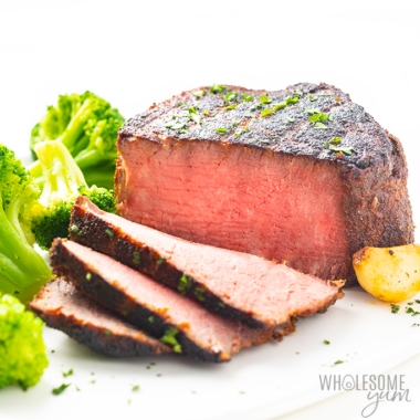 The best reverse sear steak recipe - juicy inside, crispy crust, shown with garlic and broccoli