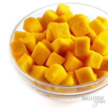 Side view of a bowl of cubed butternut squash