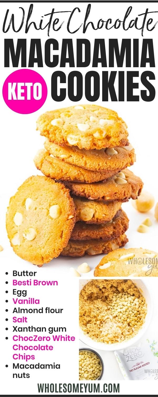 Low carb white chocolate macadamia nut cookie recipe pin