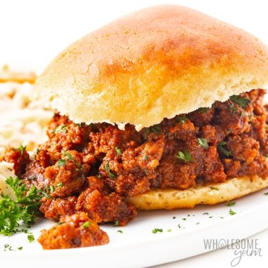 Keto sloppy joes recipe on a bun - close up