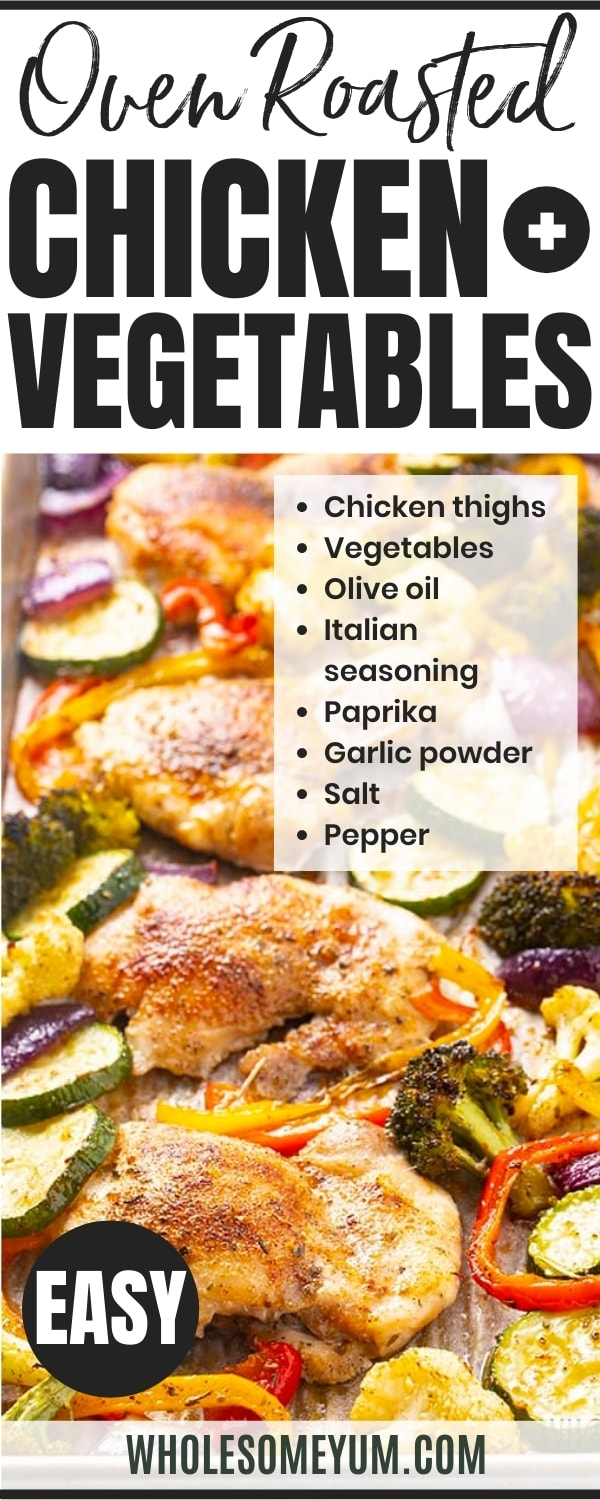 Oven roasted chicken and vegetables recipe pin