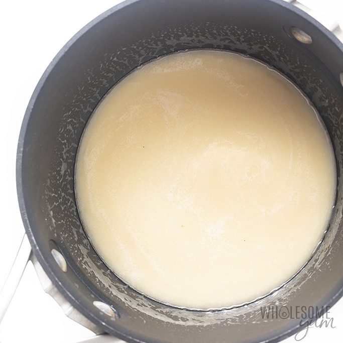 Custard filling for keto coconut pie being warmed in a saucepan
