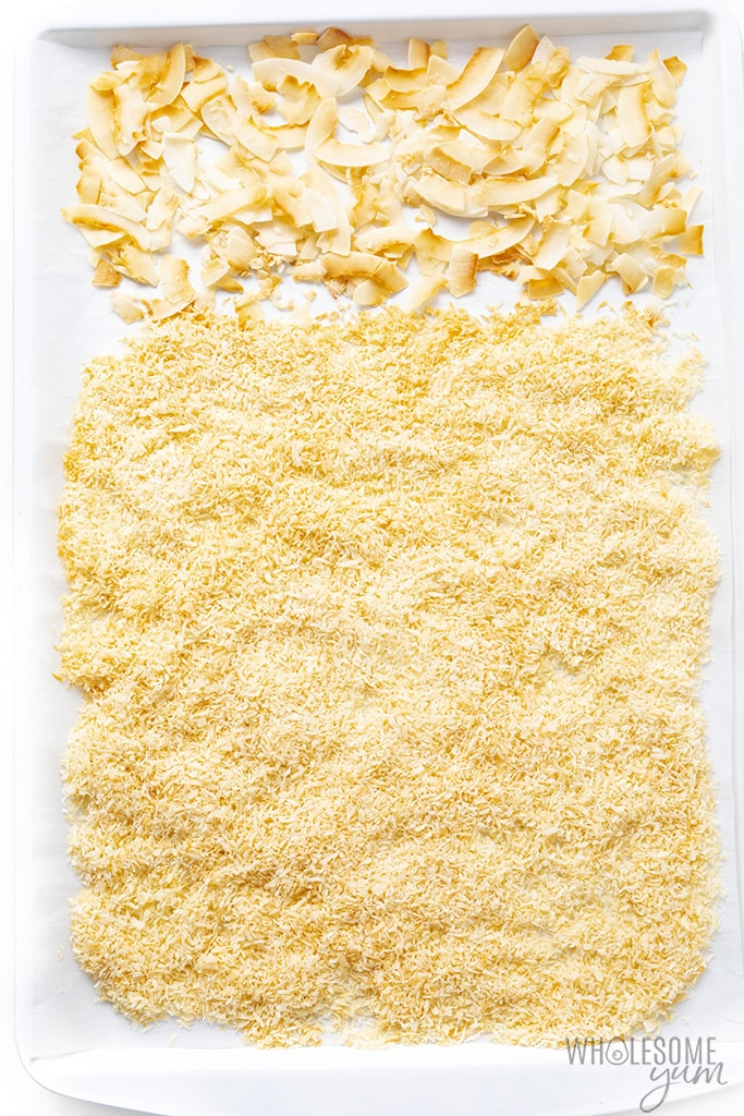 Coconut flakes for sugar-free coconut cream pie on a sheet pan
