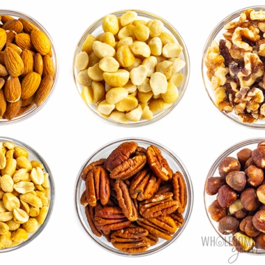6 types of keto nuts in bowls - close up