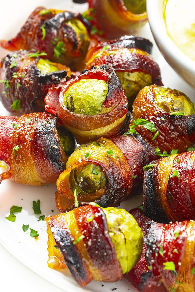 Brussels sprouts with bacon made with keto maple flavored syrup