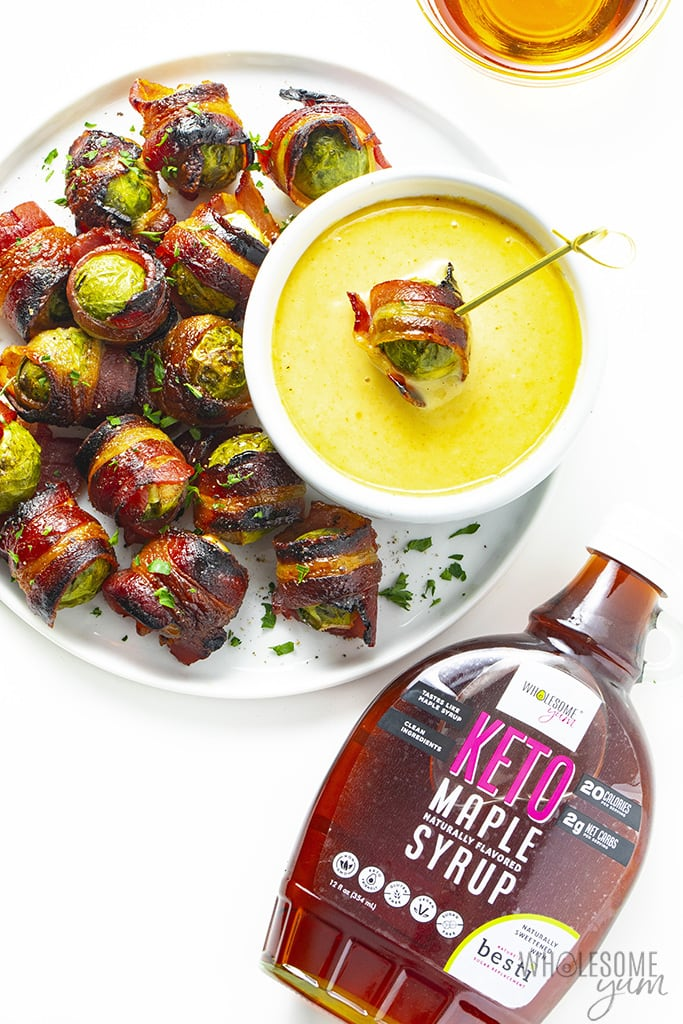 Brussels sprouts wrapped in bacon with maple mustard dipping sauce and sugar-free maple syrup
