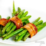 Bacon wrapped green bean bundles recipe on a plate