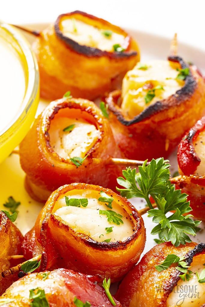 Scallops wrapped in bacon ready to be served