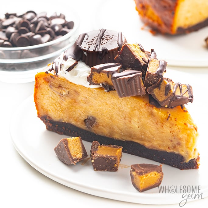 Slice of the best keto peanut butter cheesecake recipe on a plate