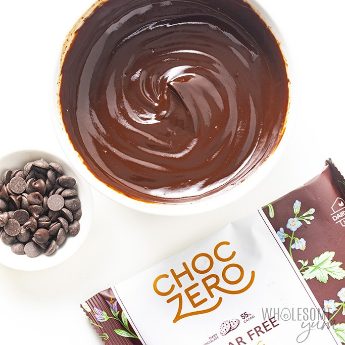 chocolate truffle base in a bowl with ChocZero chocolate chips