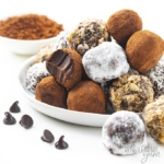 Keto chocolate truffles assortment on a plate
