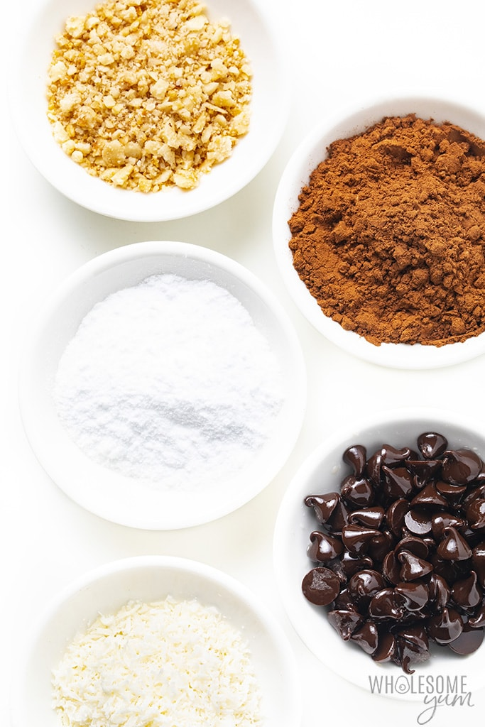 Five bowls of coatings for outside of keto truffles