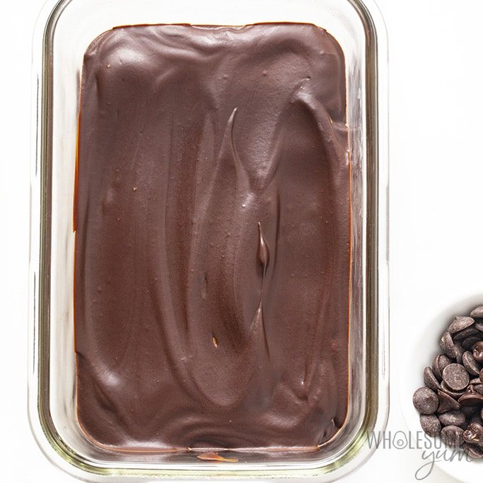 Chilled keto chocolate base in glass dish