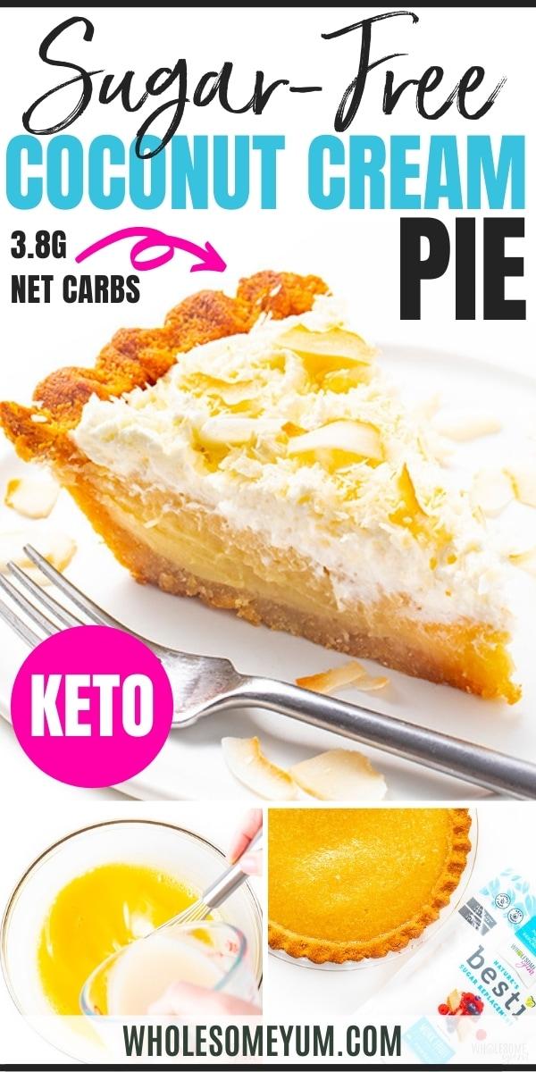 Keto coconut cream pie recipe pin