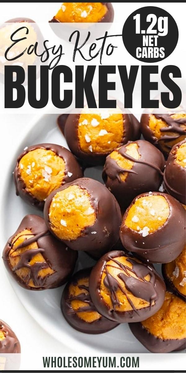 Keto chocolate peanut butter fat bombs recipe pin