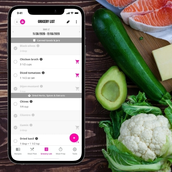 Easy Keto Meal Plan App with grocery list and keto groceries shown