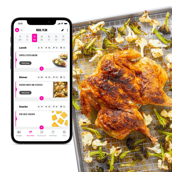 Easy Keto Meal Plans App with meal plan shown next to spatchcock chicken