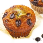 Keto chocolate chip muffin recipe close up