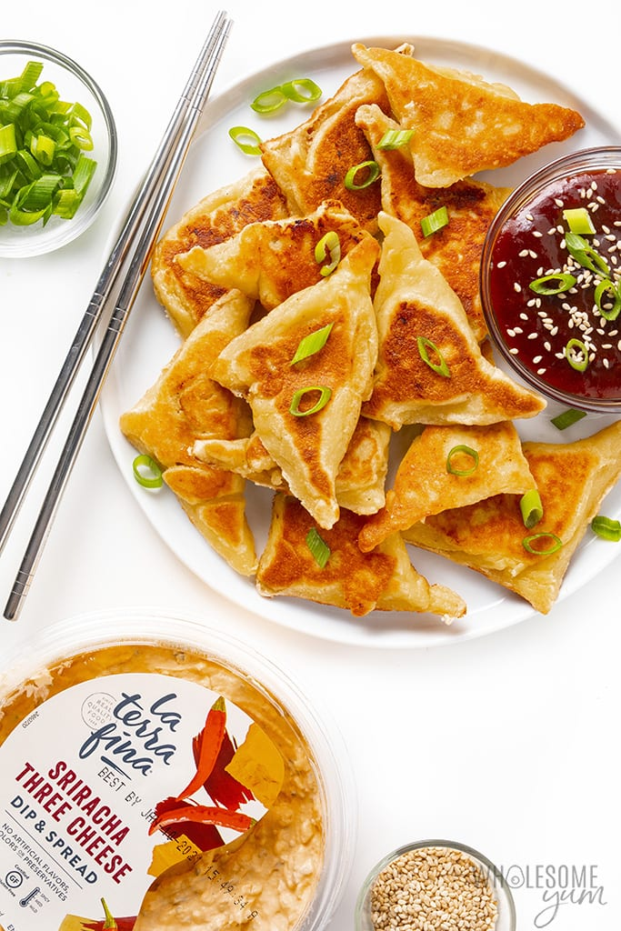 Plate with low carb crab rangoon and sweet and sour sauce