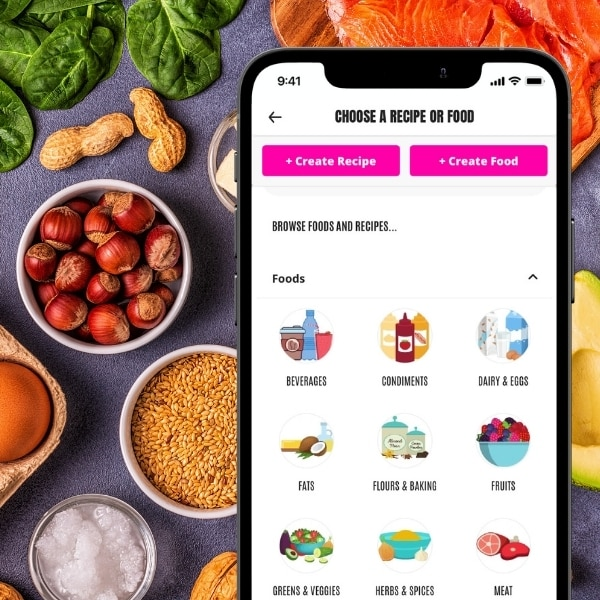 Easy Keto Meal Plan App with individual food choices shown