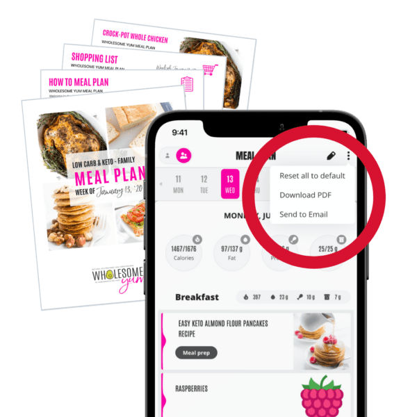 Easy Keto Meal Plan App with download and email options opened