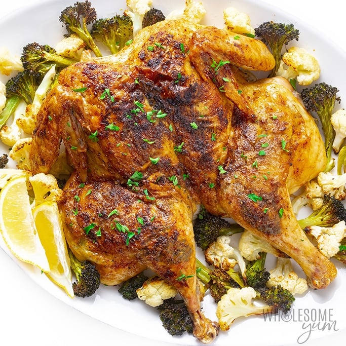 Spatchcock Chicken Recipe In The Oven Wholesome Yum