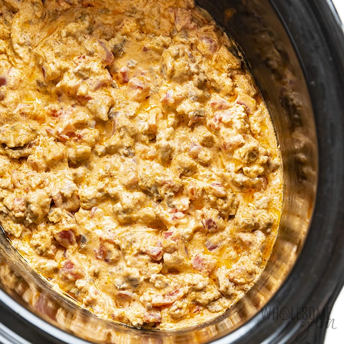 Cooked rotel cheese dip in a crock pot