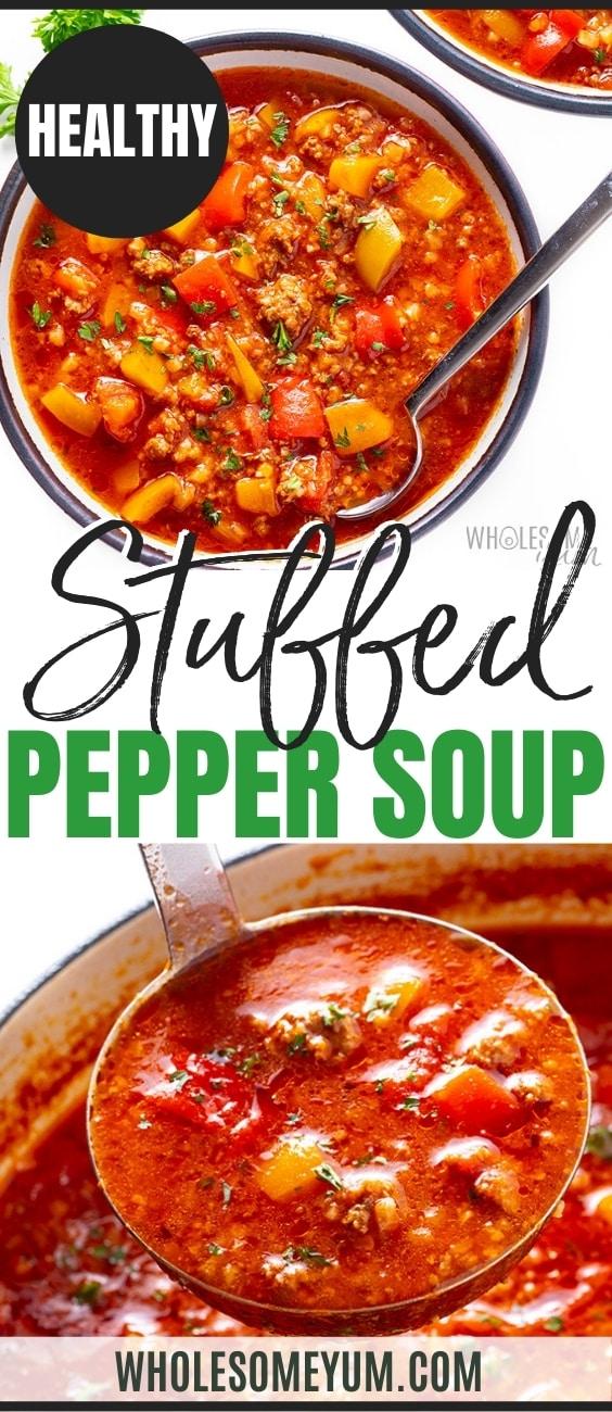 Healthy stuffed pepper soup recipe pin