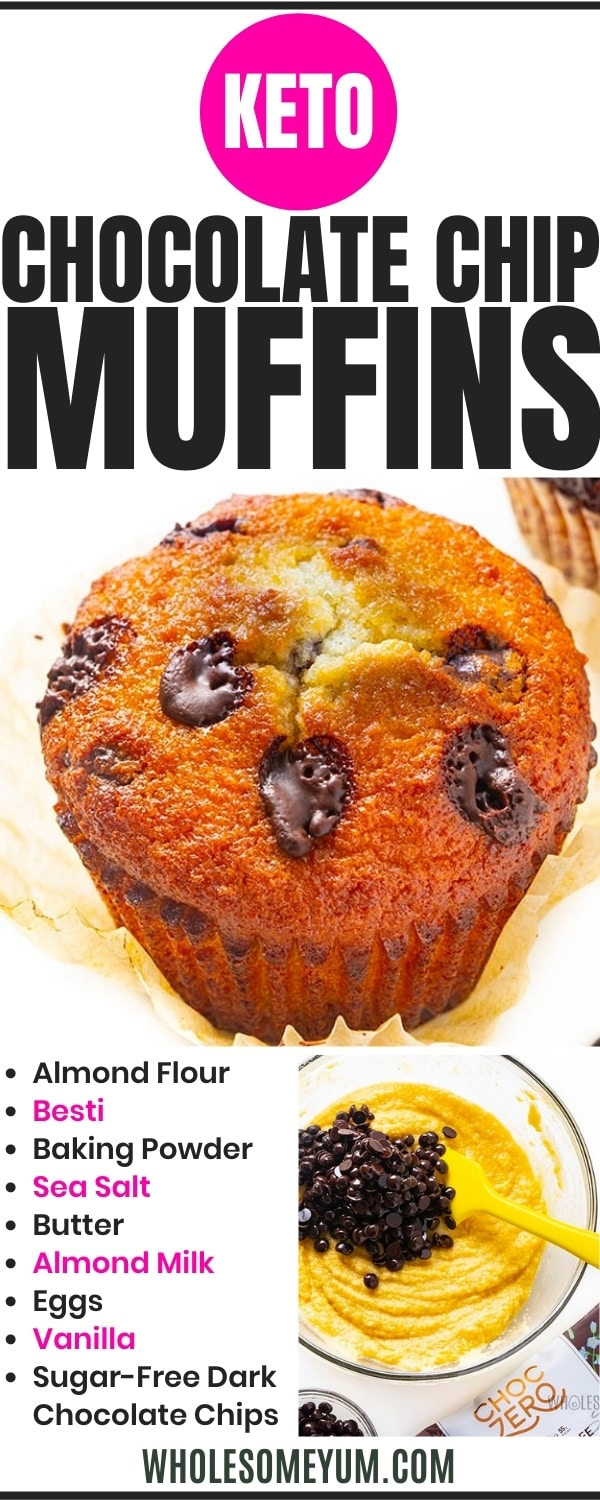 Low carb chocolate chip muffin recipe pin