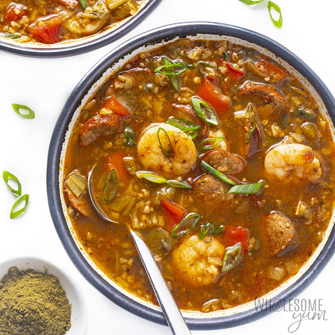 Are Bell Peppers Keto? Bowl of keto gumbo with spoon