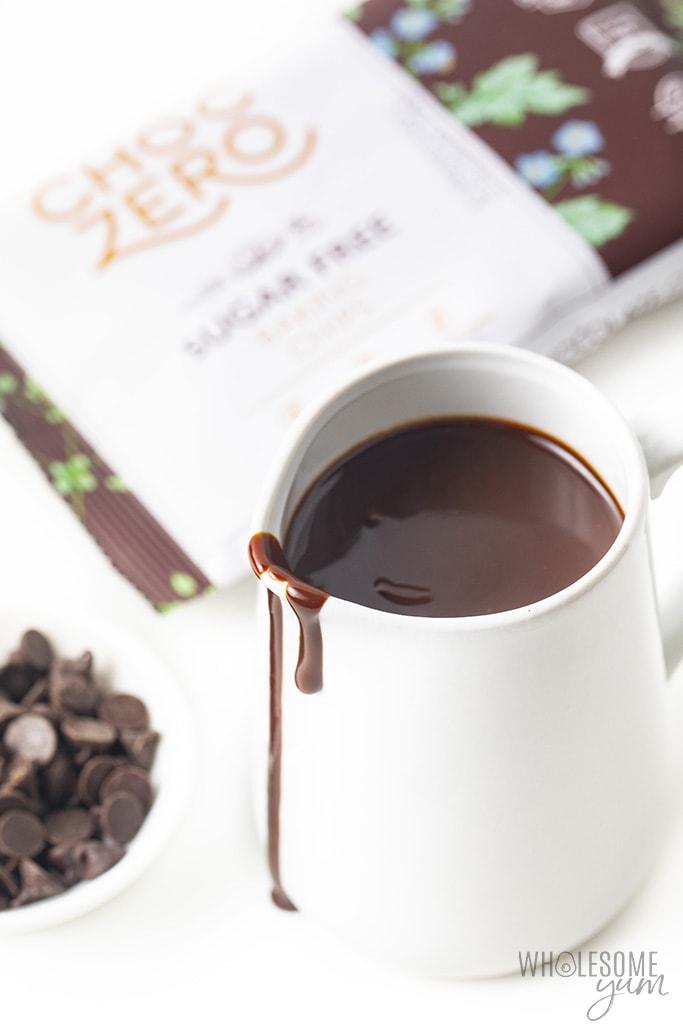 White jar of sugar-free chocolate syrup