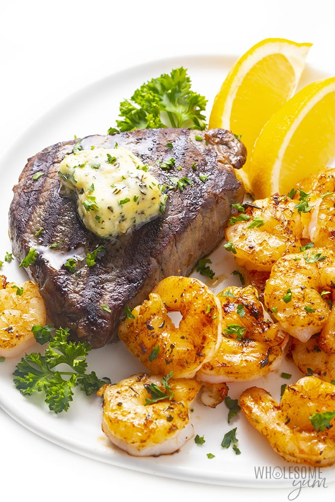 Steak with garlic butter and shrimp