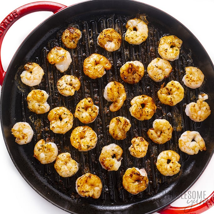 Shrimp cooking on grill pan