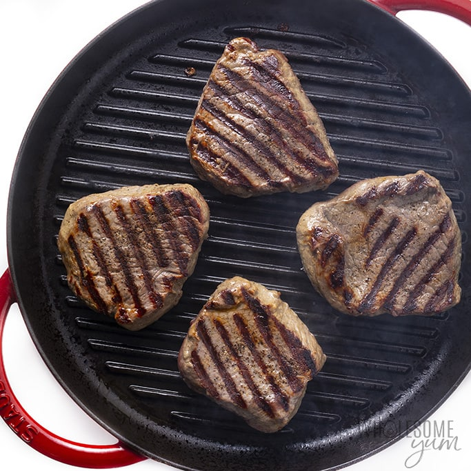 Steaks on a grill pan