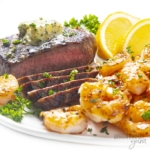 Surf and turf on a white plate