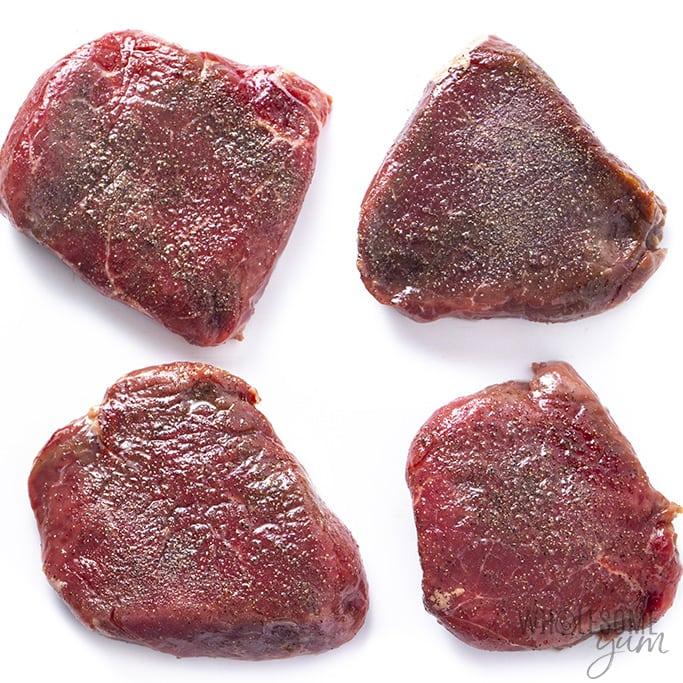 Steaks for surf n turf before cooking