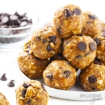 Plate of keto energy balls in a stack