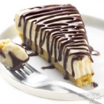 Keto no bake cheesecake with bite taken out of the front
