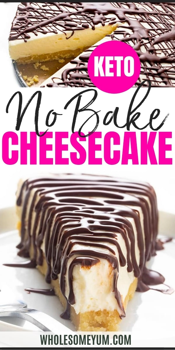 Keto no bake cheesecake recipe pin
